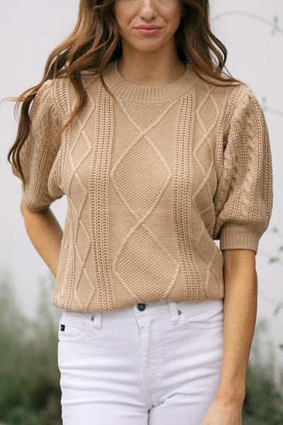 Isabelle Cable Knit Top Tops Cresent Camel Small