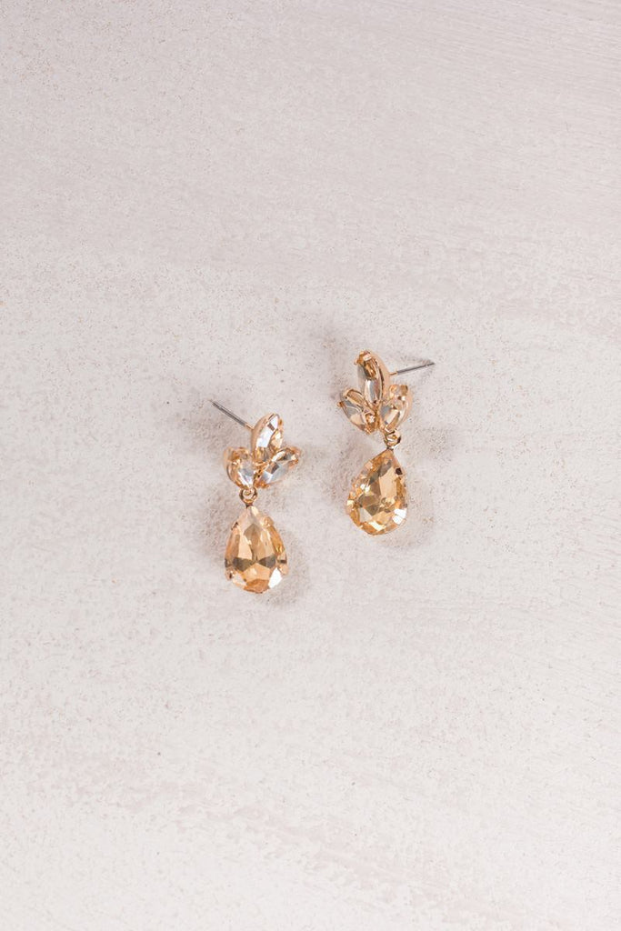 Maisie Crystal Teardrop Earrings Earrings Ana Gold
