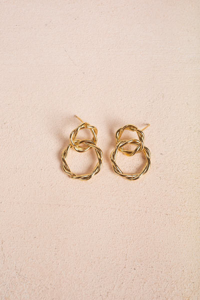 Valentina Twisted Hoop Link Earrings Earrings Fame Gold