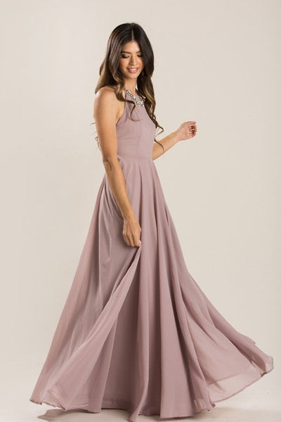 Emma Flowy Maxi Dress Dresses Maniju Taupe-Mauve X-Small