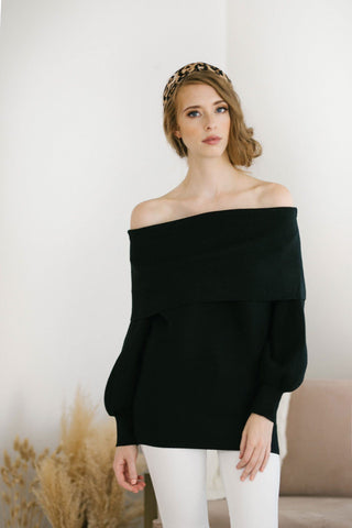 Grace Foldover Off the Shoulder Sweater Sweaters Blush BT