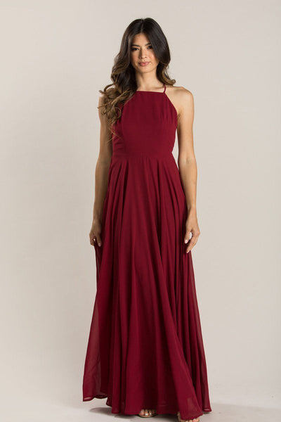Emma Burgundy Flowy Maxi Dress Dresses Maniju Burgundy Small