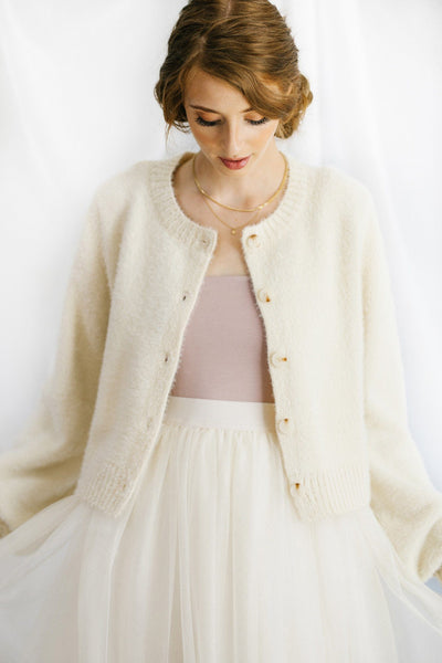 Martha Button Fuzzy Cardigan Sweaters Emory Park Ivory Small