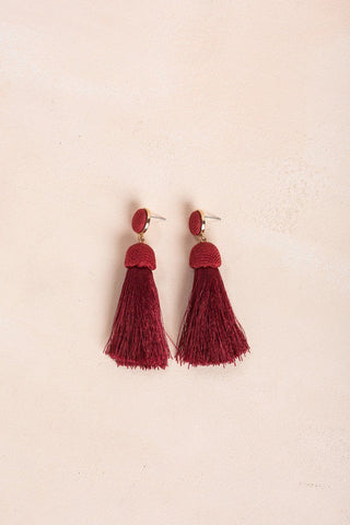 Ivy Tassel Earrings Earrings JOIA Burgundy