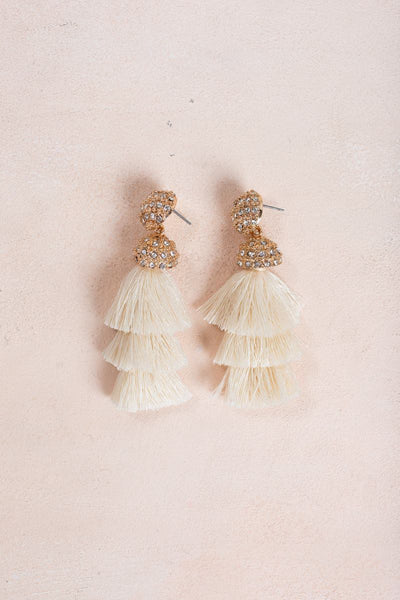 Jacinda Ivory Tassel Earrings Earrings JOIA Ivory