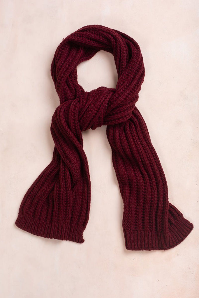 Samantha Knitted Scarf Scarves Fame Burgundy