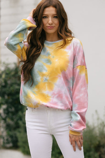 Patricia Tie-Dye Crew Neck Sweater Sweaters Le Lis Pink-Sage Small