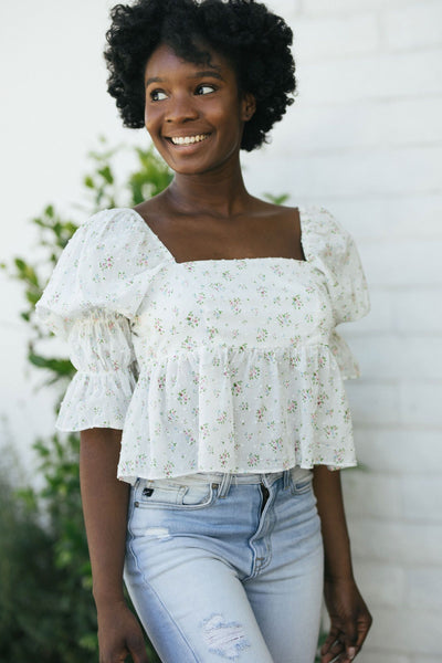 Florence Puff Sleeve Peplum Top Tops Storia White Floral Small