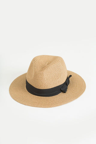Tessa Black Bow Straw Fedora