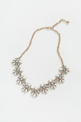 Isabelle White Crystal Flower Statement Necklace