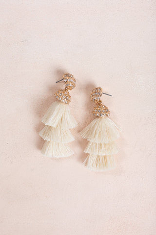 Jacinda Ivory Tassel Earrings