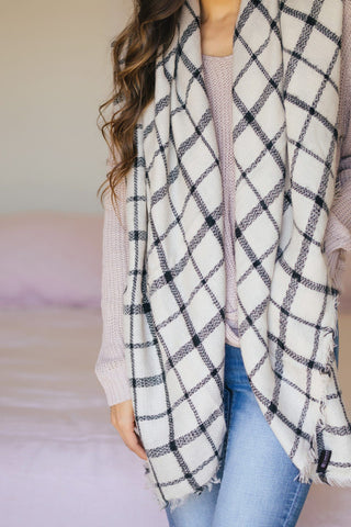 Martha Ivory Plaid Scarf Scarves JOIA