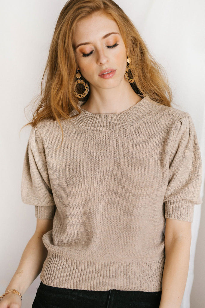 Tobi Short Sleeve Knit Top Tops Dreamers Taupe S/M