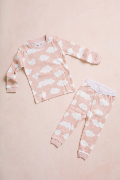 Kids Cloud Long Sleeve Sleeve Pajama Set Kids Salon De Bebe Pink XS (12-24M)