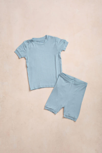 Kids Blue Short Sleeve Pajama Set Kids Salon De Bebe Blue XS (18-24M)