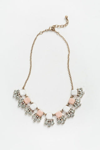 Mindy Blush and White Crystal Statement Necklace