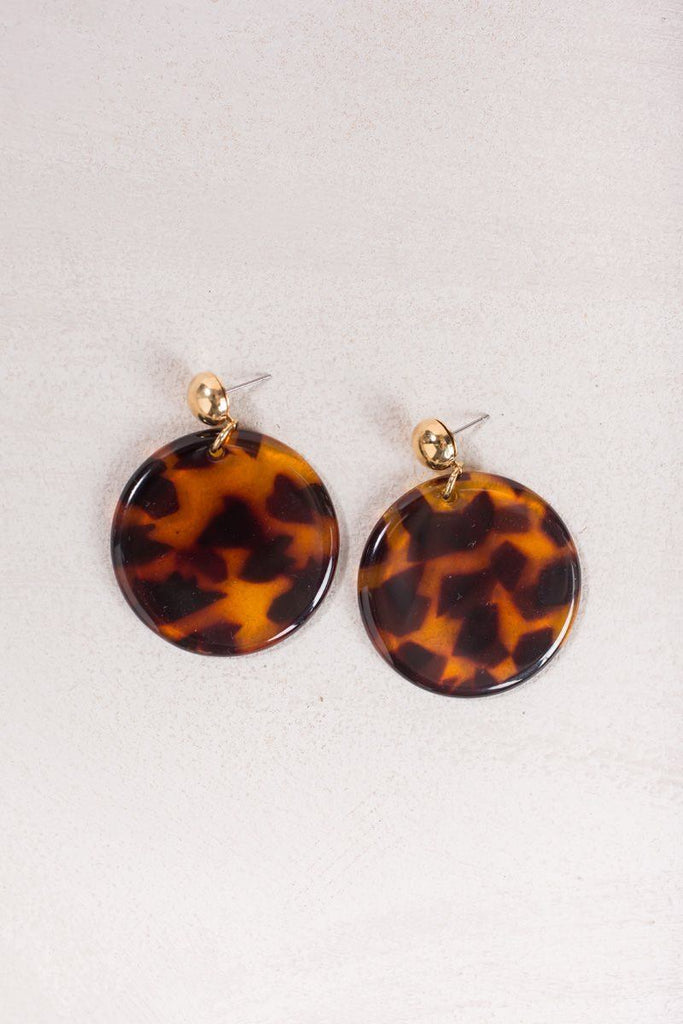 Vera Tortoise Round Earrings Earrings Joia
