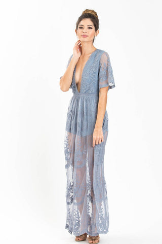 Mila Dusty Blue Lace Maxi Jumpsuit Dresses Honey Punch
