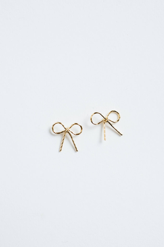 Aimee Dainty Gold Bow Earrings