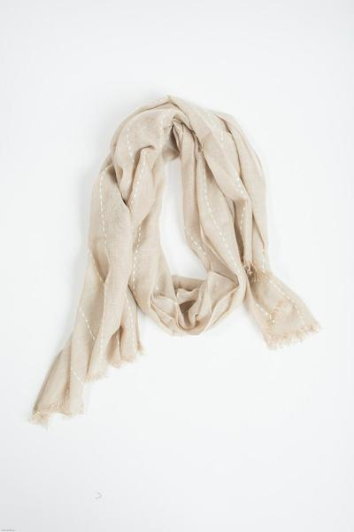 Liv Beige-White Striped Scarf Scarves JOIA