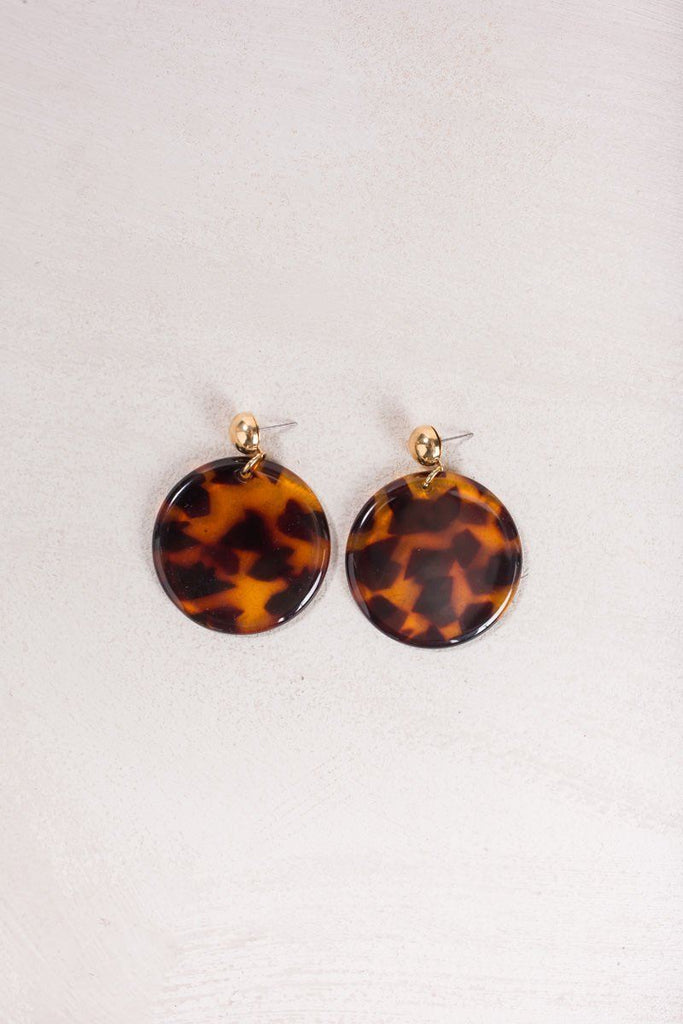 Vera Tortoise Round Earrings Earrings Joia Tortoise