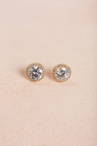 Lauren Gold Crystal Stud Earrings Joia