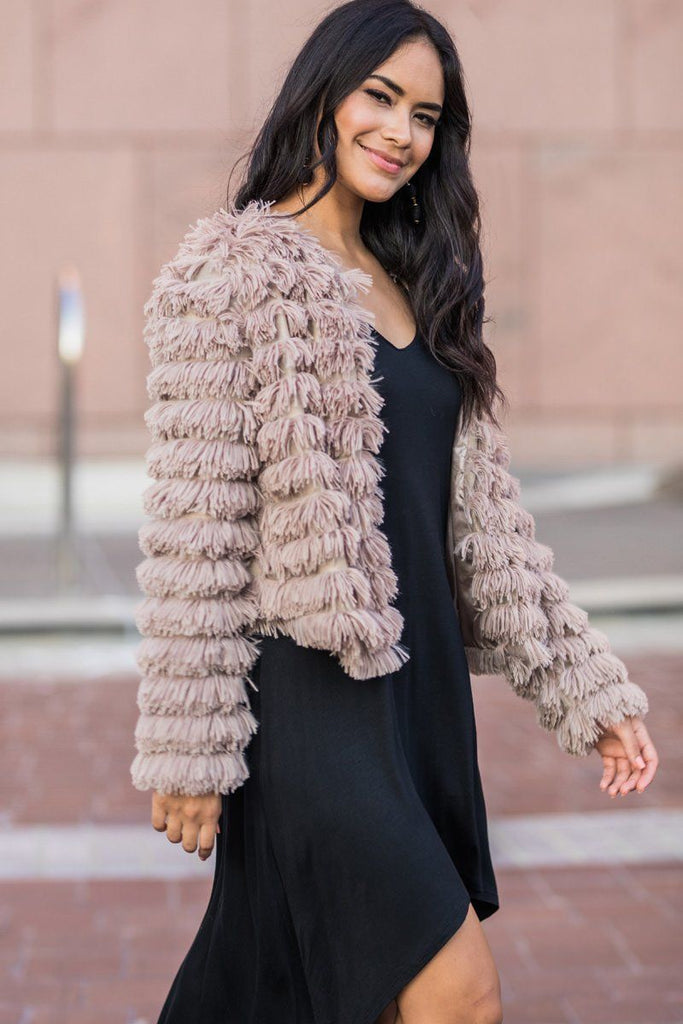 Elle Taupe Layered Faux Fur Jacket Outerwear She & Sky