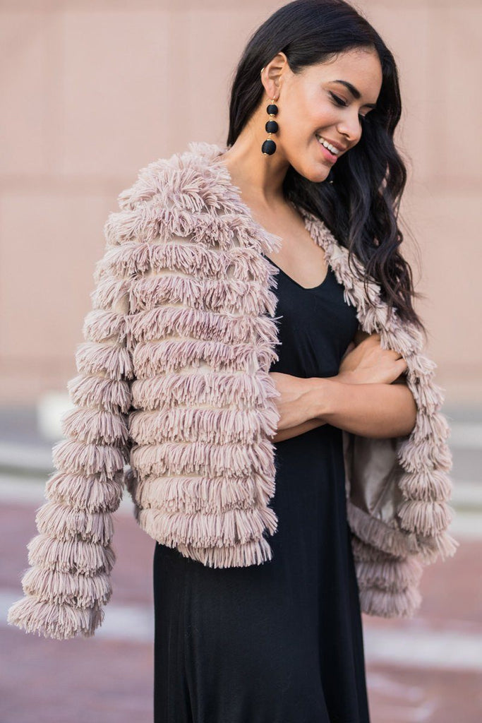 Elle Taupe Layered Faux Fur Jacket