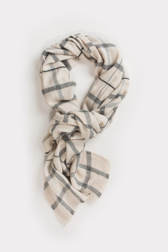 Laurel Taupe Plaid Scarf Scarves ANA