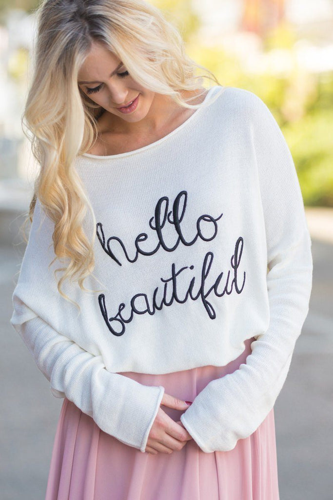 Nessa Cream Hello Beautiful Sweater Sweaters Le Lis