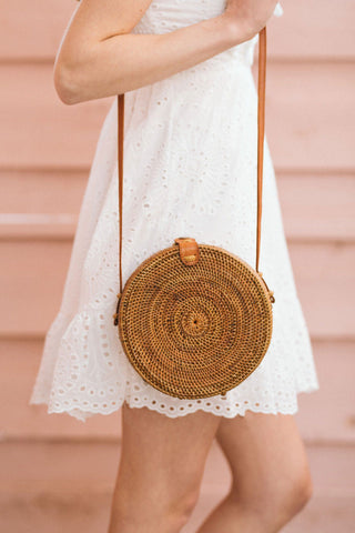Amaya Round Straw Handbag Handbags Street Level