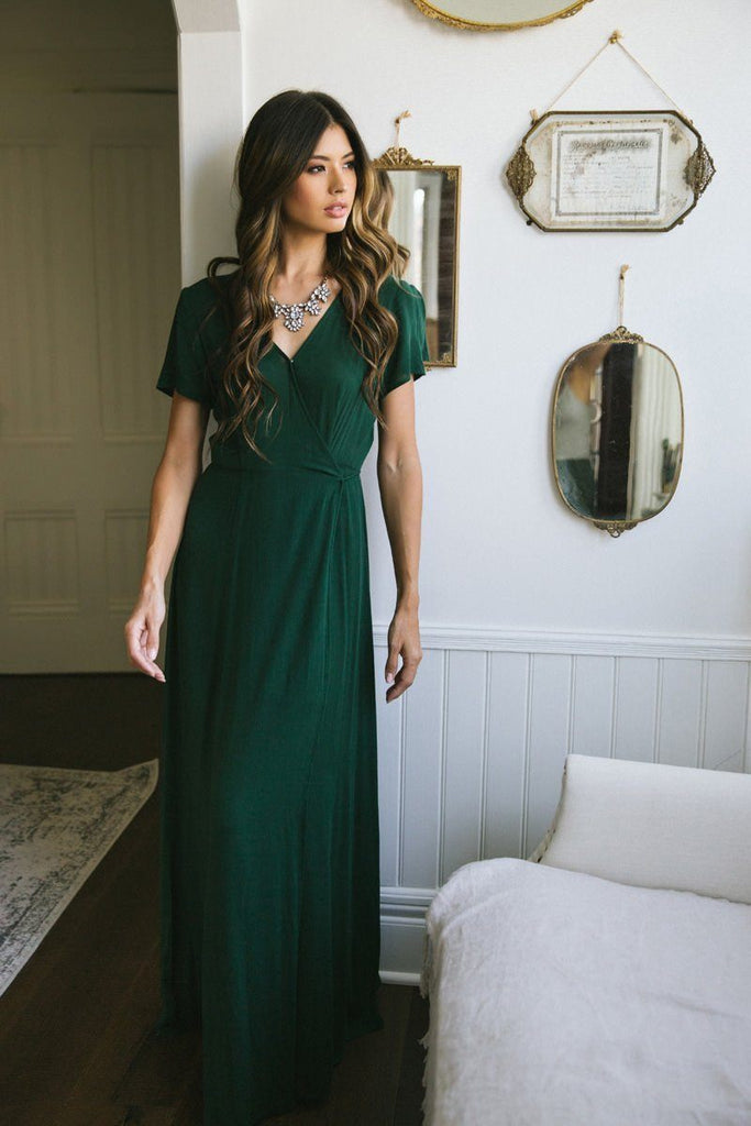 Corinne Hunter Green Wrap Maxi Dress