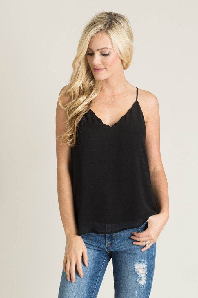 Charlene Black Scallop Cami Tops Naked Zebra