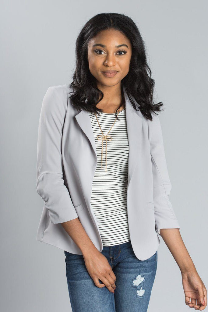 Nellie Shirred Blazer TEST TEST TEST Outerwear Skies are Blue Grey X-Small