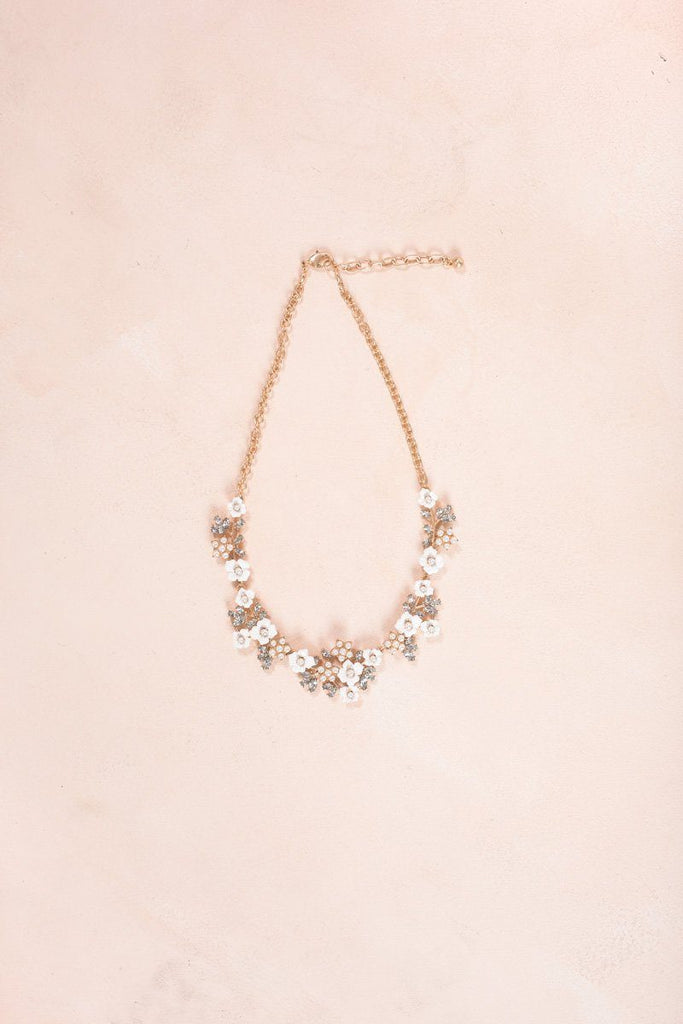 Erika White Flower Crystal Necklace Necklaces Ana White