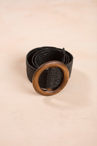 Janelle Wooden Buckle Straw Belt Belts Fame Black