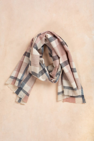 Char Blush & Grey Plaid Scarf Scarves Fame Blush