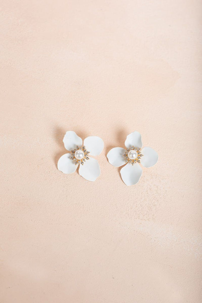 Simone White Gold Flower Earrings Earrings Joia White