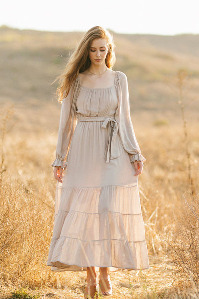 Cathy Square Neck Long Sleeve Dress Dresses In Loom Natural Small