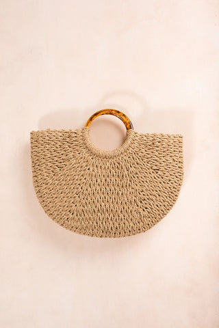 Dani Tortoise Handle Straw Bag Handbags FAME Straw