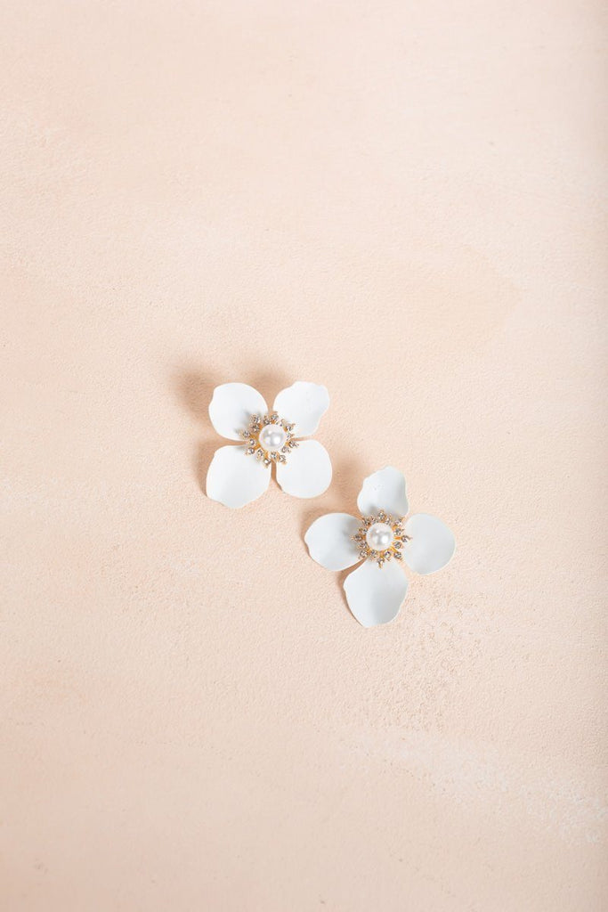 Simone White Gold Flower Earrings Earrings Joia
