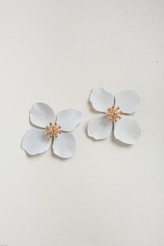 Eileen Oversized Ivory Flower Earrings