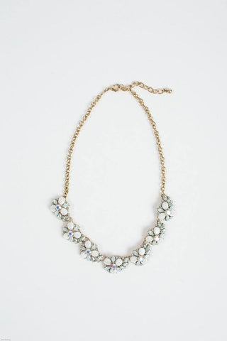 Helena White Crystal Statement Necklace