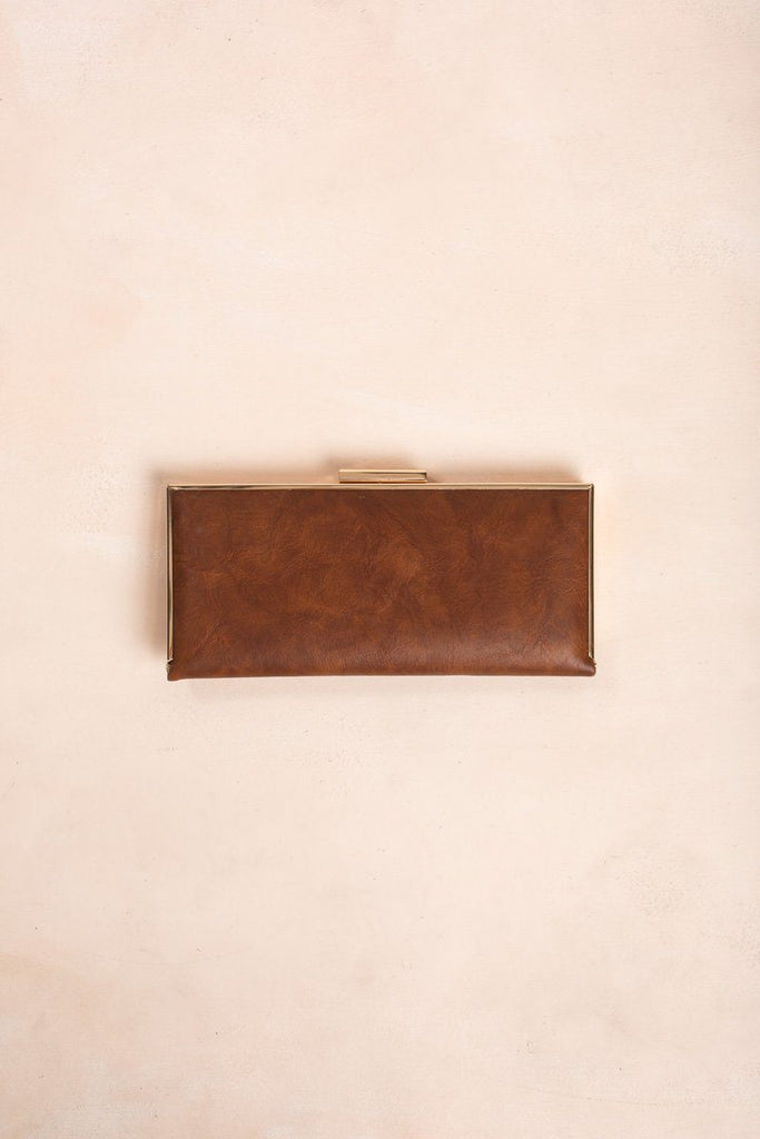 Tammy Faux Leather Convertible Clutch Handbags Joia Brown