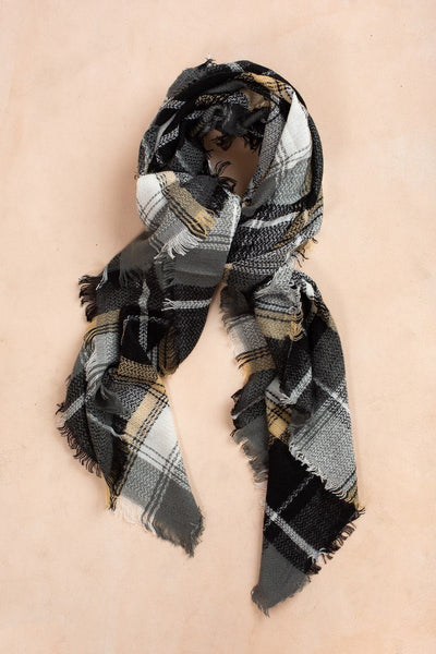 Erin Black, Grey, & Beige Plaid Scarf Scarves Fame Black/Grey