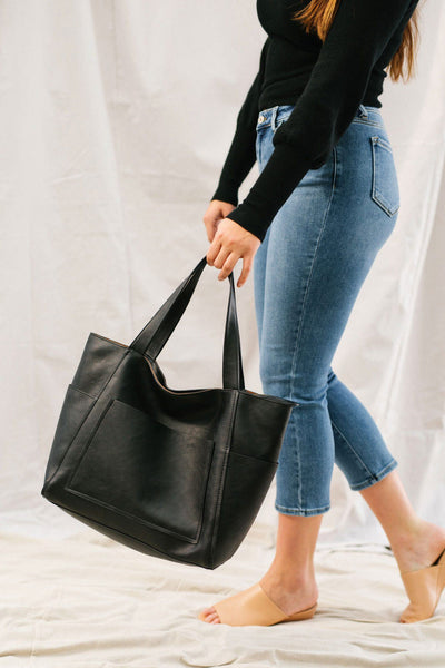 Cindy Black Tote With Front Pocket Handbags Street Level