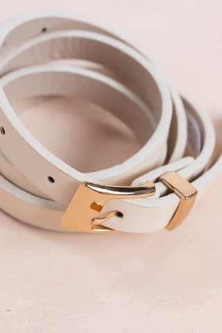 Cassidee Skinny Cream Belt