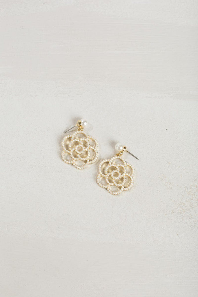 Kenley Pearl Rose Earrings Earrings Joia Pearl
