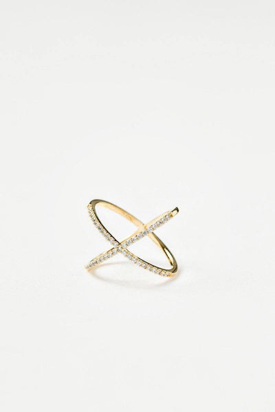 Camila Gold Crystal Crossover Ring Rings Other Gold 6