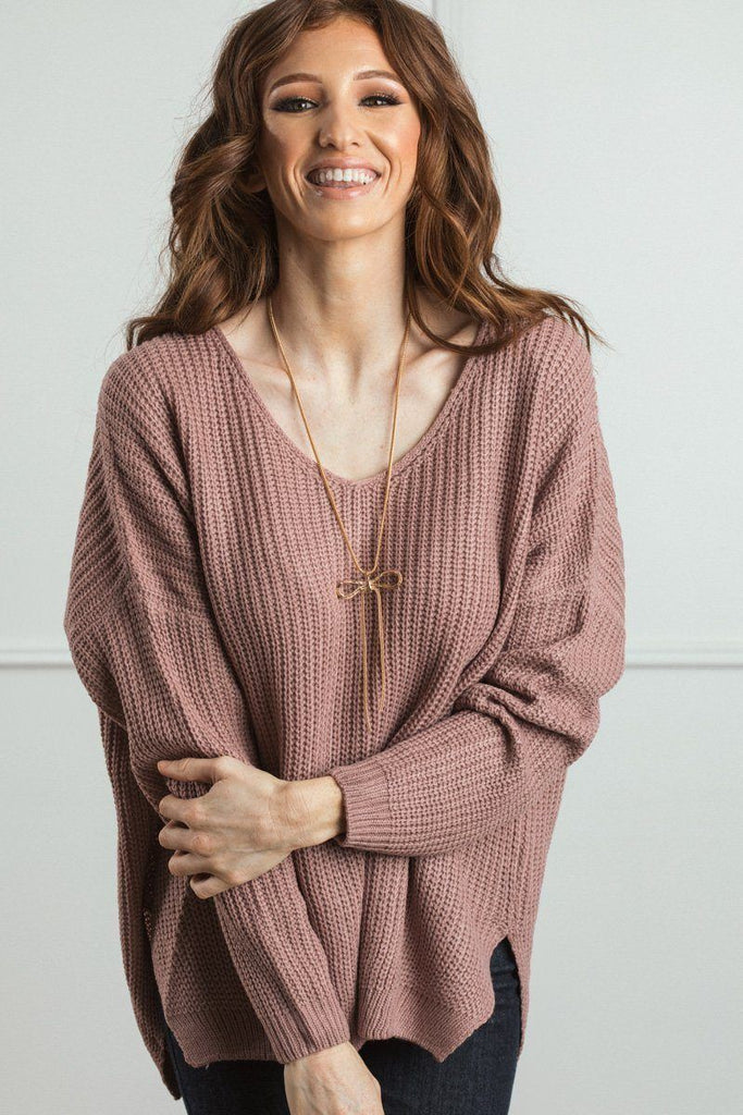 Terri Knit V-Neck Pullover Sweater Sweaters Dreamers Mauve XS/S